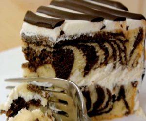 торт зебра со сливочным кремом